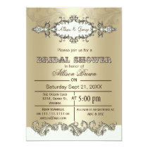 Ivory Gold Scroll Elegant bridal shower Invites