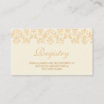 Ivory & Gold Vintage Damask Wedding Registry Card