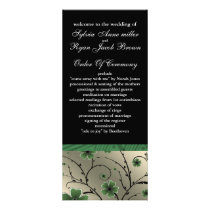 ivory green and black floral Wedding program