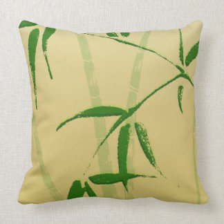 Ivory Green Bamboo Leaves Pillows