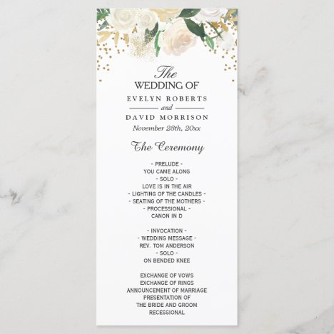 Ivory Green Floral Wedding Program