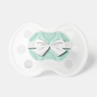 ivory greens damask pattern pacifier