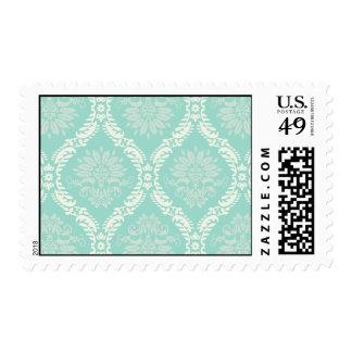 ivory greens damask pattern stamp