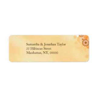 Ivory Hibiscus Floral Return Address Labels Favors Custom Return Address Label