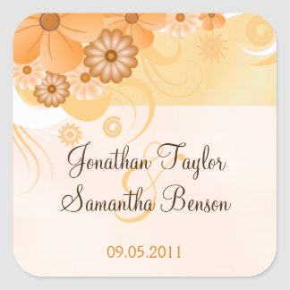 Ivory Hibiscus Floral Save The Date Favor Stickers Square Sticker
