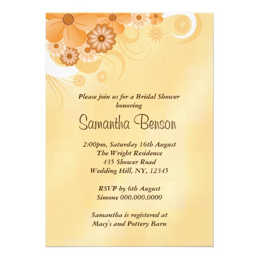 Ivory Hibiscus Floral Wedding Bridal Shower Invite Custom Announcements