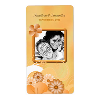 Ivory Hibiscus Wedding Photo Favor Wine Labels Shipping Label