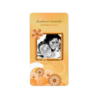 Ivory Hibiscus Wedding Photo Favor Wine Labels Labels