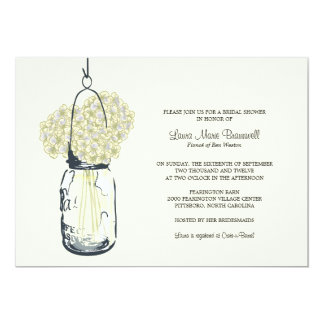 Ivory Hydrangea & Mason Jar Bridal Shower Card