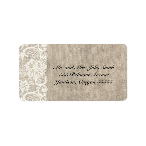 ivory lace and burlap address labels zazzle With ivory mailing labels