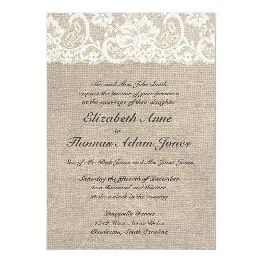 Ivory Lace and Burlap Wedding Invitation
