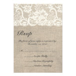 Ivory Lace and Burlap Wedding RSVP Card