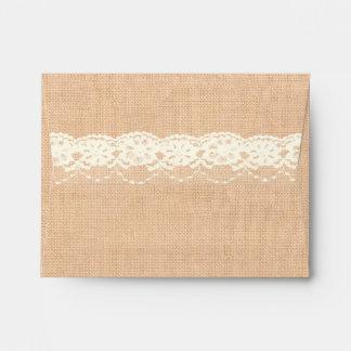 Ivory Lace and Light Burlap RSVP Envelope Envelope