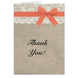 Ivory Lace Burlap and Coral Thank You Card