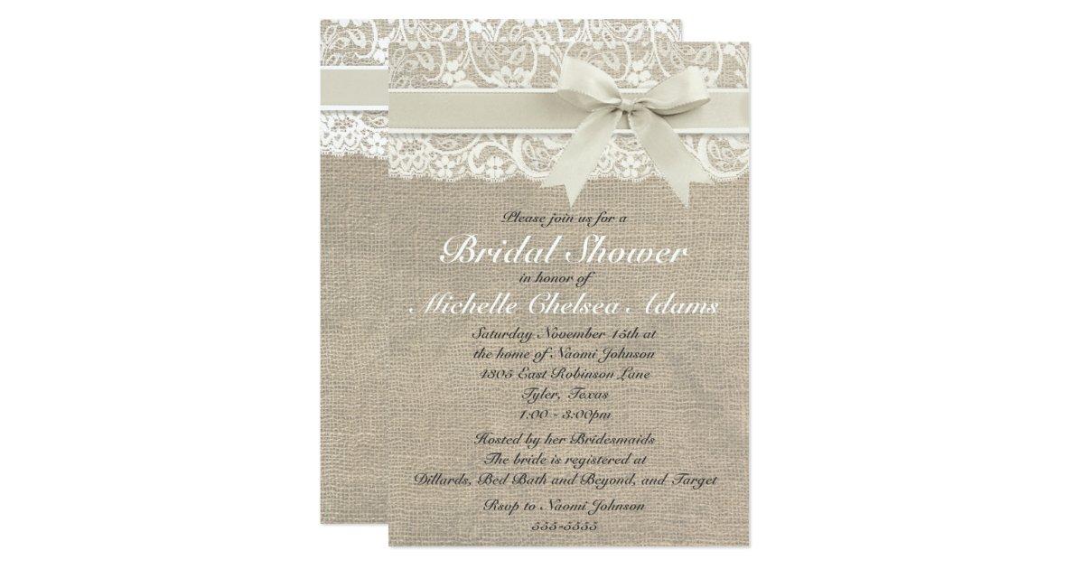 Ivory Wedding Invitations: Ivory Lace Burlap Bridal Shower Invitation
