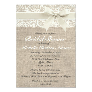 Ivory Lace Burlap Bridal Shower Invitation