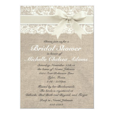 Ivory Lace Burlap Bridal Shower Invitation at Zazzle