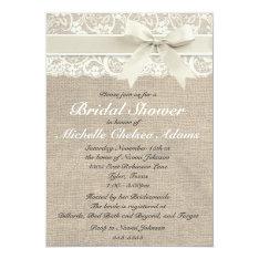 Ivory Lace Burlap Bridal Shower Invitation at Zazzle