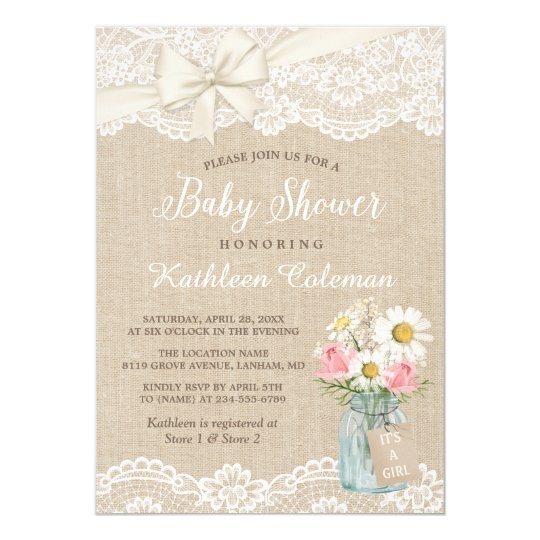Ivory Lace Burlap Floral Mason Jar Baby Shower Invitation Zazzle Com