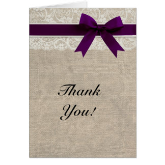 Ivory Lace Burlap Look Plum Thank You Card