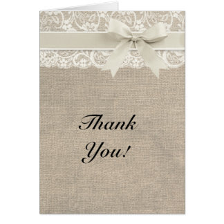 Ivory Lace Burlap Look Thank You Card