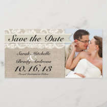 Ivory Lace & Burlap Vintage Save the Date - Ivory
