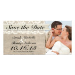 Ivory Lace & Burlap Vintage Save the Date - Ivory Photo Card