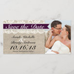 """Ivory Lace &amp; Burlap Vintage Save the Date - Plum<br><div class=""""desc"""">This custom wedding Save the Date Photo Card is the perfect combination of traditional and trendy. The burlap-look background is perfect for a rustic or vintage themed wedding and the lace-look accent adds a classic, romantic touch. Coordinates with full collection of matching PLUM Invitations, RSVP cards, custom postage, menu cards,...</div>"""
