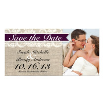 Ivory Lace & Burlap Vintage Save the Date - Plum Card
