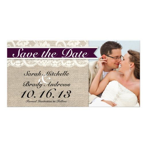 Ivory Lace & Burlap Vintage Save the Date - Plum Photo Greeting Card