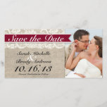 """Ivory Lace &amp; Burlap Vintage Save the Date - Red<br><div class=""""desc"""">This custom wedding Save the Date Photo Card is the perfect combination of traditional and trendy. The burlap-look background is perfect for a rustic or vintage themed wedding and the lace-look accent adds a classic, romantic touch. Coordinates with full collection of matching RED Invitations, RSVP cards, custom postage, menu cards,...</div>"""
