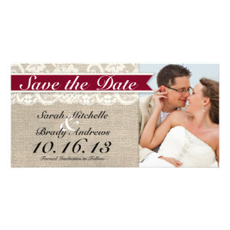 Ivory Lace & Burlap Vintage Save the Date - Red Card
