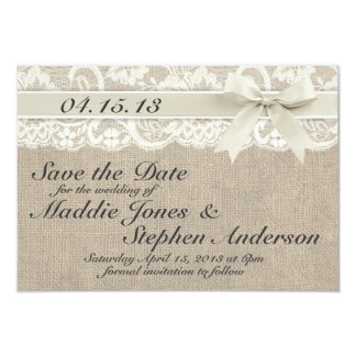 Ivory Lace & Burlap Wedding Save the Date Card