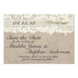 Ivory Lace & Burlap Wedding Save the Date Personalized Invite