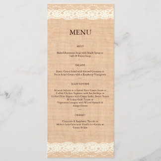 Ivory Lace & Light Burlap Menu