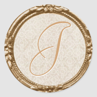 Ivory Lace Monogram Sticker/Seal Classic Round Sticker