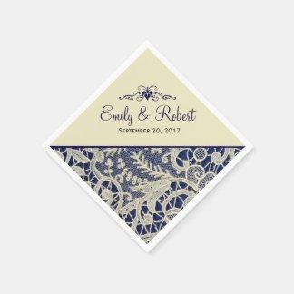Ivory Lace Navy Blue Elegant Formal Wedding Napkin