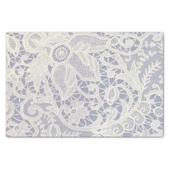 Ivory Lace Navy Blue Elegant Wedding Gift Tissue Paper