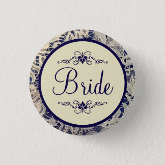 Ivory Lace Navy Blue Formal Wedding Bride Pinback Button