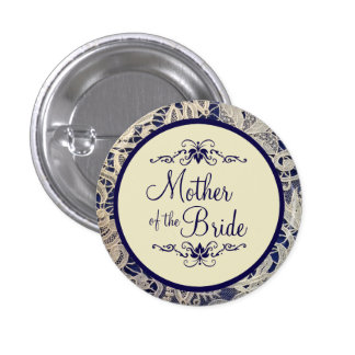 Ivory Lace Navy Blue Wedding Mother of the Bride Button