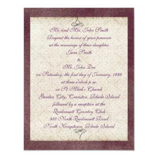 Ivory Lace on Purple Invitation