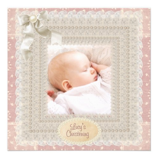 Ivory Lace Pink Pearl Girls Pink Photo Christening Custom Announcements