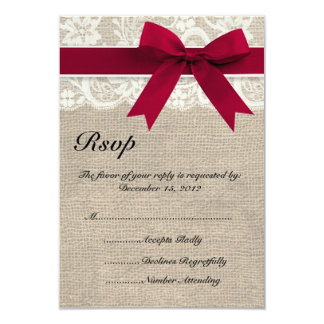 """Ivory Lace Red Ribbon and Burlap Wedding RSVP Card 3.5"""" X 5"""" Invitation Card"""