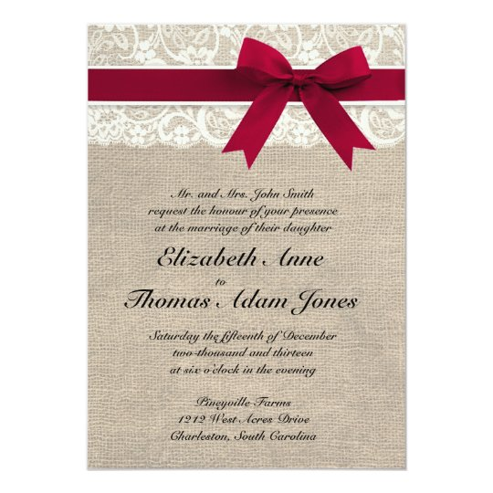 ivory lace red ribbon burlap wedding invitation - Burlap Wedding Invitations