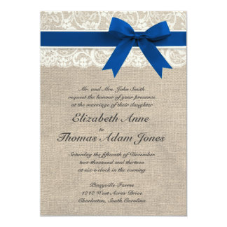 Royal blue wedding invitations announcements zazzle ivory lace royal blue burlap wedding invitation stopboris Images