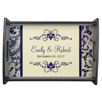 Ivory Lace Royal Navy Blue Elegant Formal Wedding Serving Tray