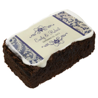Ivory Lace Royal Navy Blue Elegant Wedding Treats Chocolate Brownie