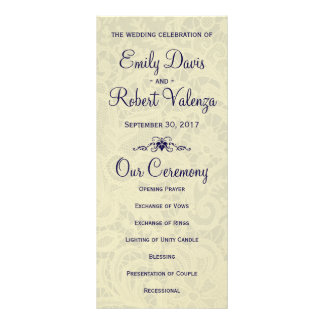 Ivory Lace Royal Navy Blue Formal Wedding Program