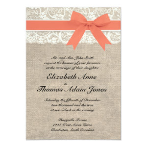 Ivory Lace Rustic Burlap Wedding Invitation- Coral 5