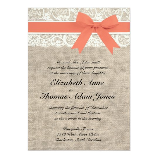 Ivory Lace Rustic Burlap Wedding Invitation- Coral Invitation ...